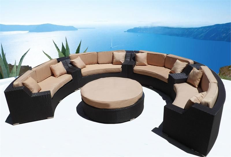 MODERN SAVANNAH ROUND WICKER SECTIONAL SOFA OUTDOOR PATIO FURNITURE &  BRIENNE CLUB CHAIR DINING - MODERN SAVANNAH ROUND WICKER SECTIONAL SOFA OUTDOOR PATIO