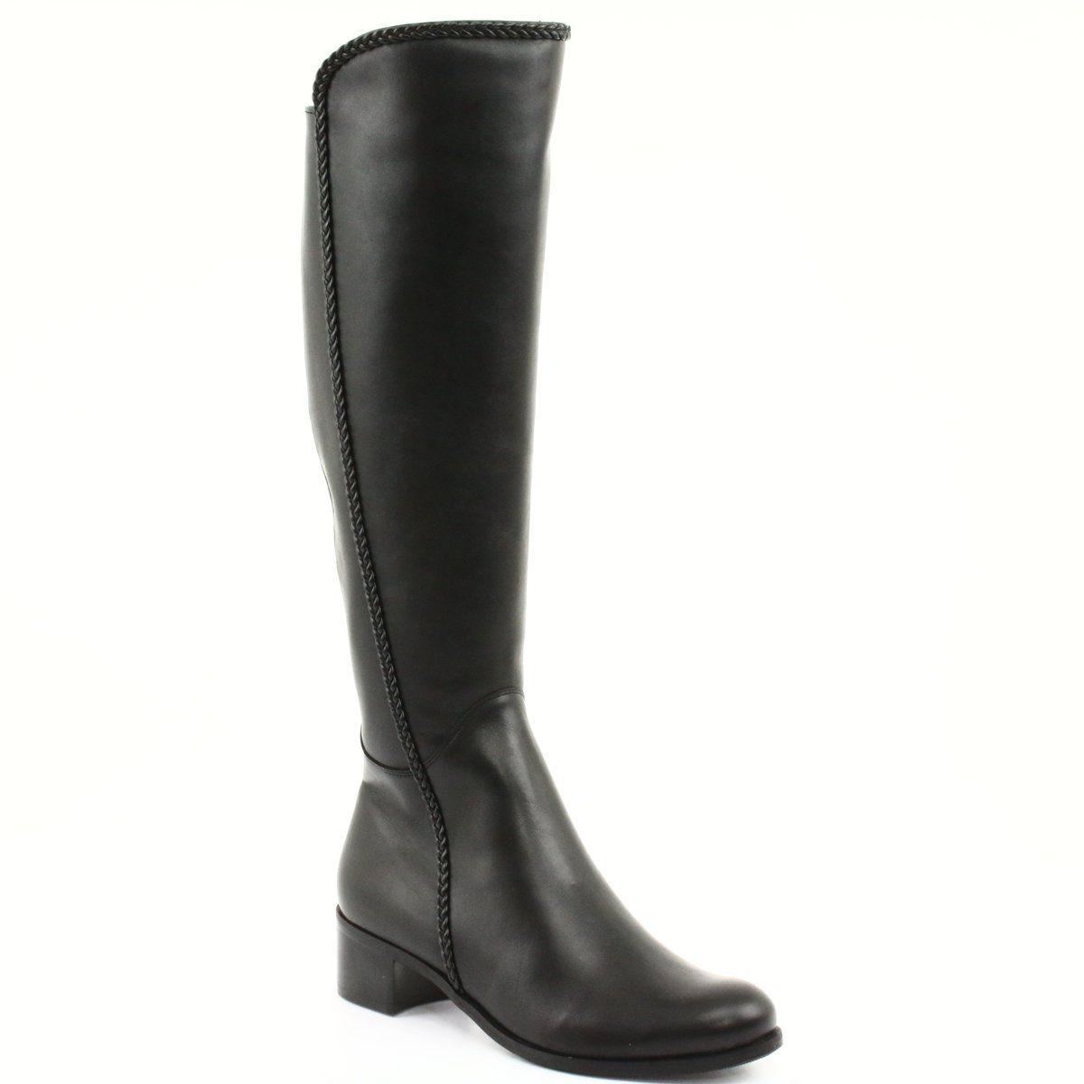 Dlugie Kozaki Z Warkoczem Espinto 194 Darex Czarne Boots Winter Boots Women Long Boots