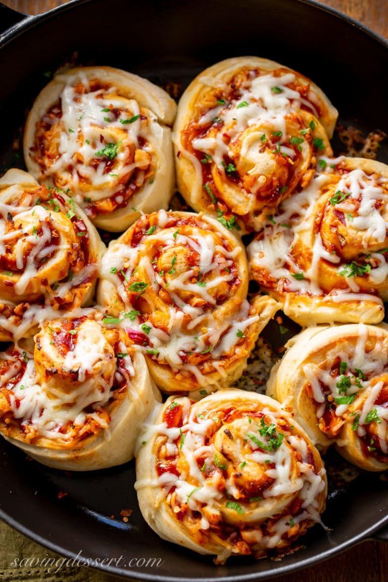 Cheesy BBQ Chicken Pizza Rolls Recipe