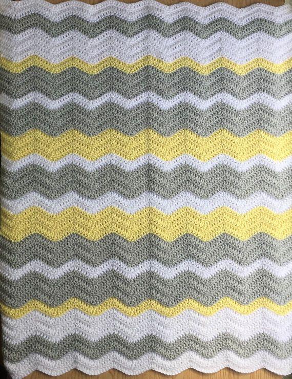 Gray and Yellow Chevron Baby Blanket/ Crochet Baby Blanket/ Gender ...