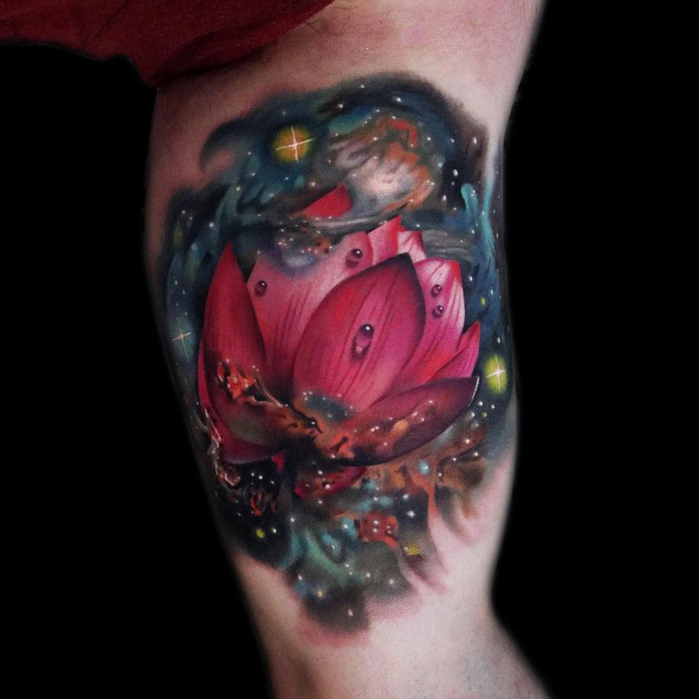 Space lotus flower tattoos for me pinterest tattoos flower stunningly vibrant lotus flower in space tattoo on guys bicep by andrs acosta izmirmasajfo