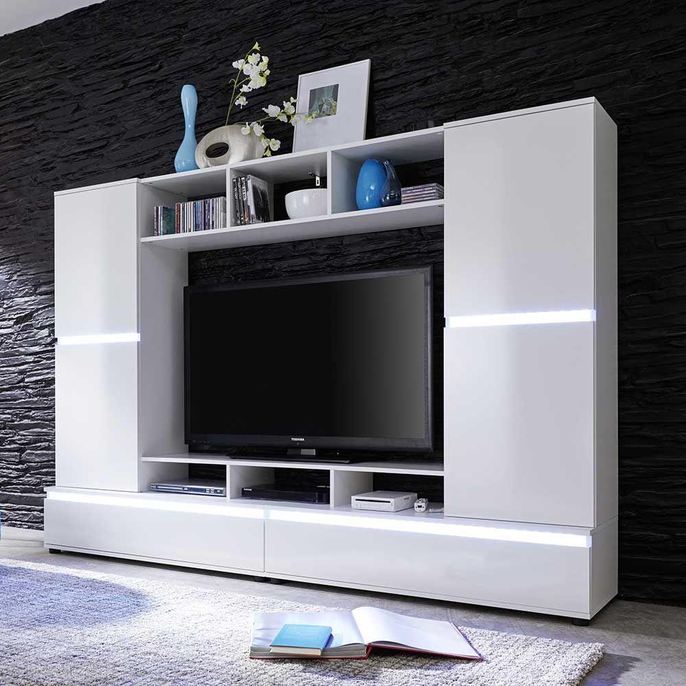 TV Wand in Hochglanz Weiß Wechsellicht Jetzt bestellen unter: https ...