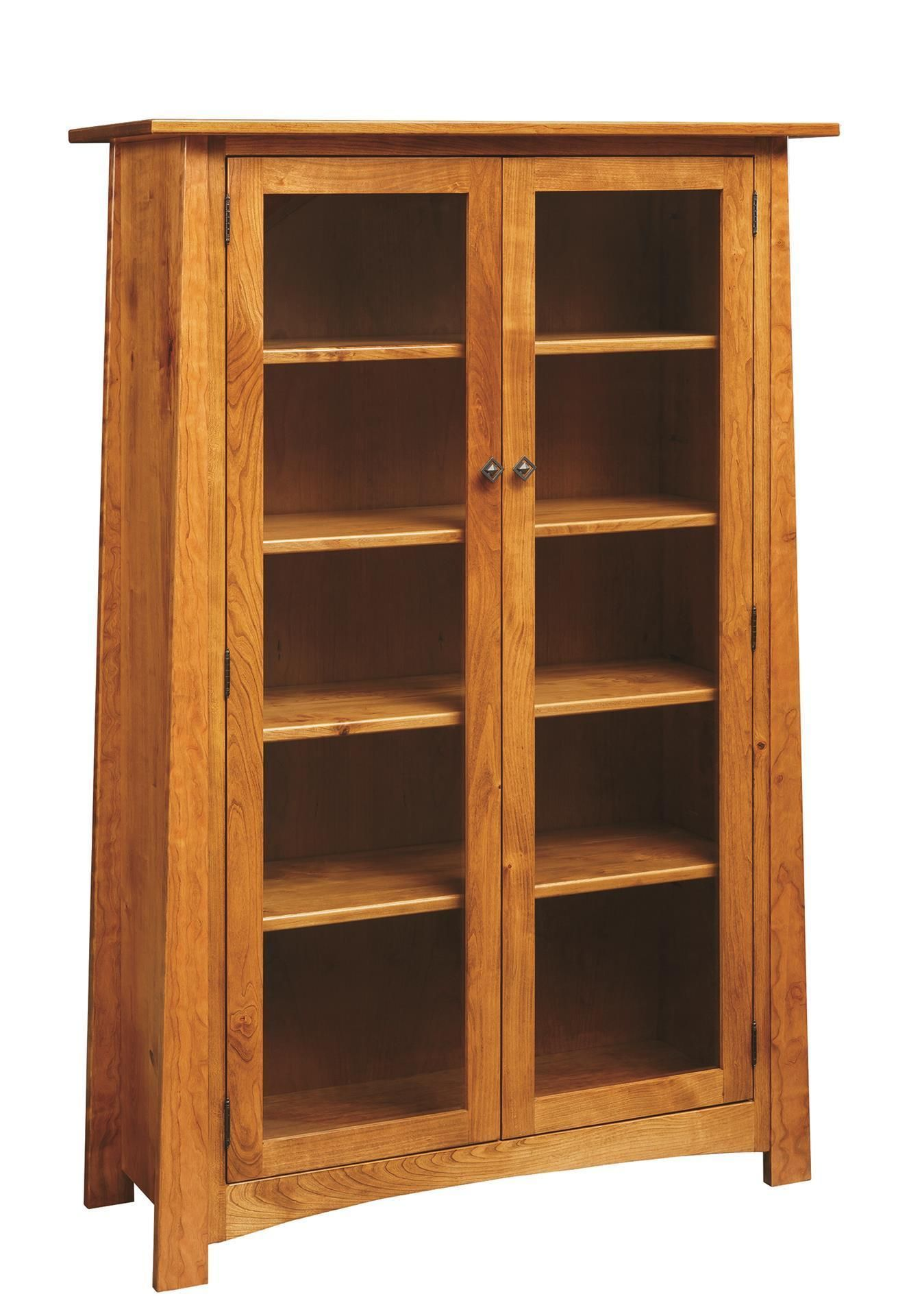 Amish Craftsmen Bookcase With Glass Doors In 2020 Bookcase With