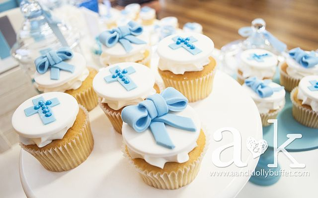 Pretty cupcakes at a baby boy baptism!  See more party ideas at CatchMyParty.com!  #baptism #partyideas