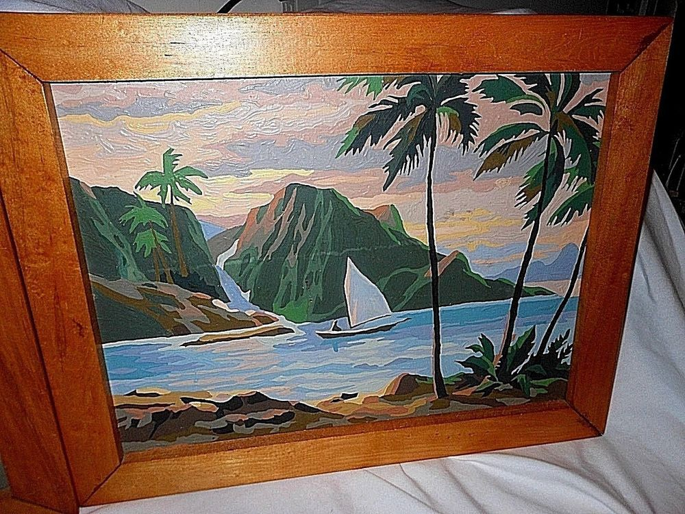 "1958 Paint By Number Hawaiian "" Tropical Splendor"" 12 x 16"