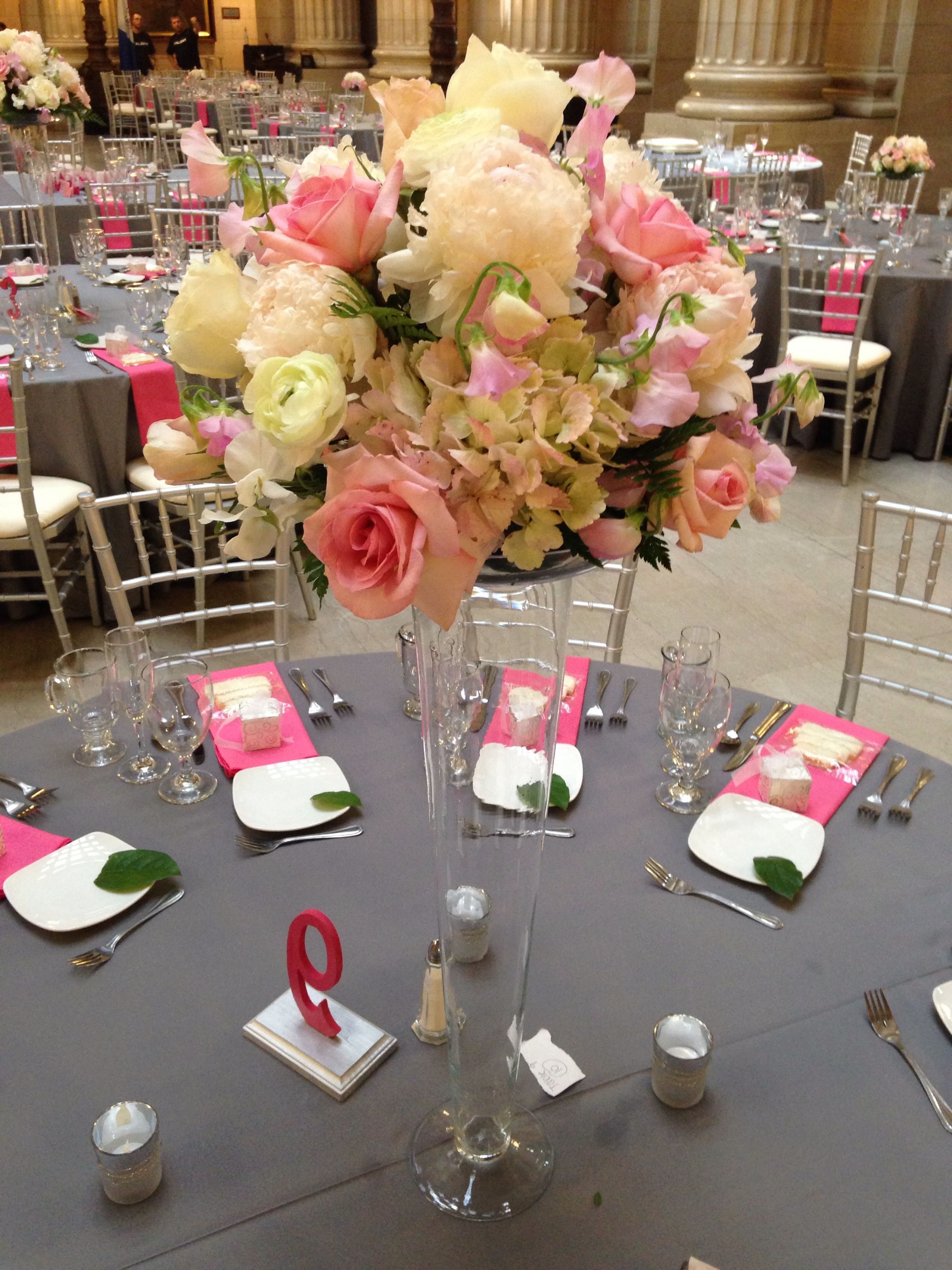 Wedding Flowers Centerpiece Flowers Tall Cylinders Wedding Decor