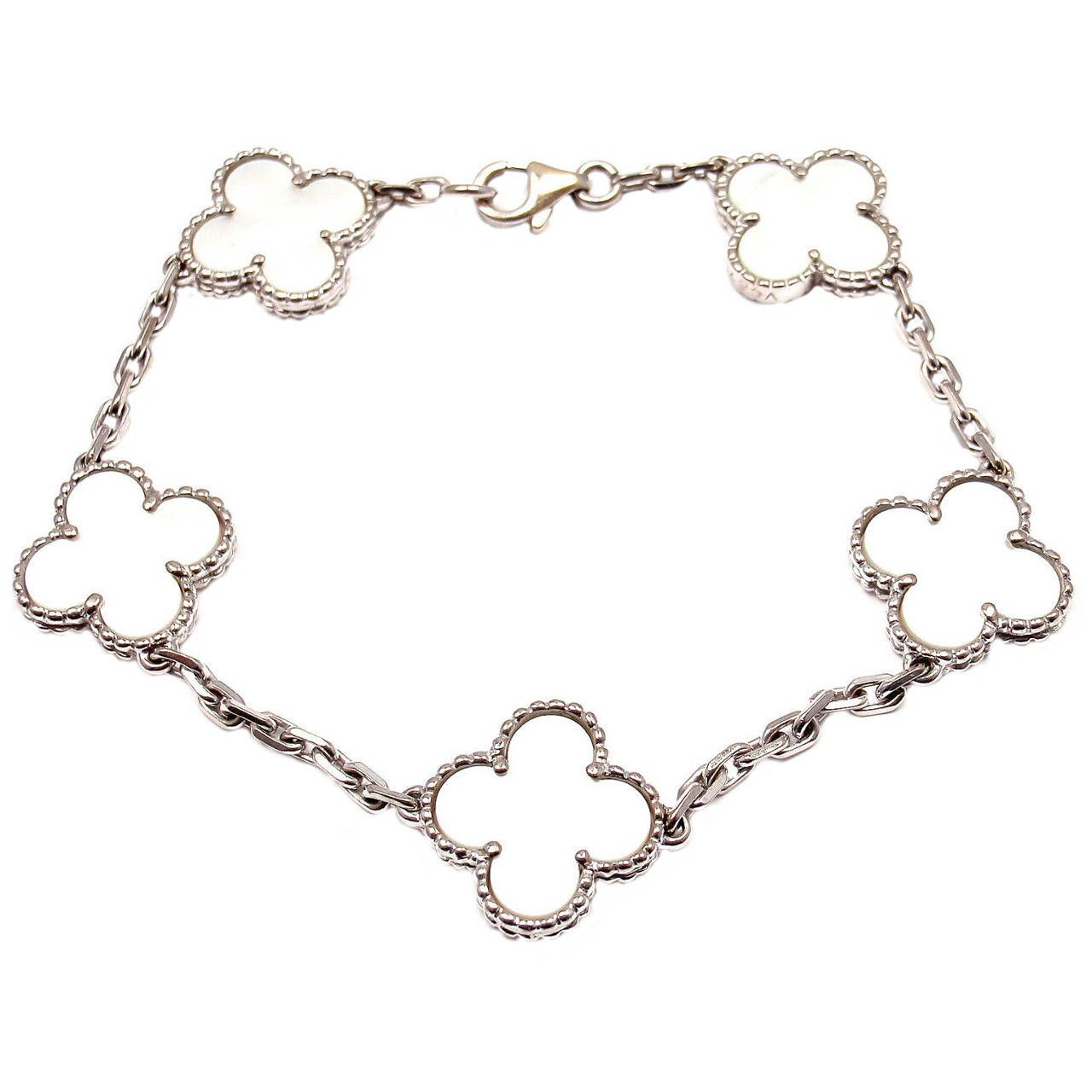 Van cleef u arpels alhambra mother of pearl white gold bracelet