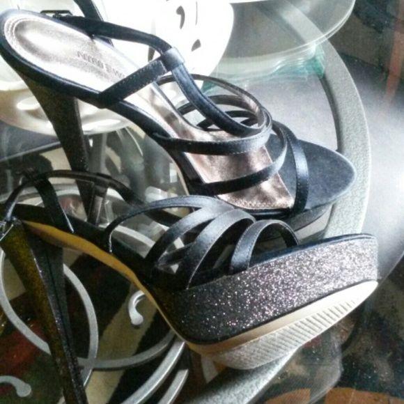 Used lightly worn Nine West Satin strap peep toe heels .platform from very comfortable fit Nine West Shoes