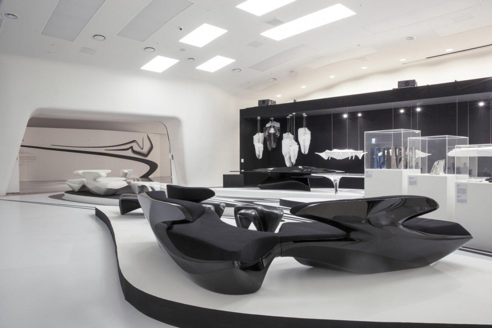 Zaha hadid 360 exhibition design zaha hadid architects arte futurista interiores y arte Diseno interior futurista