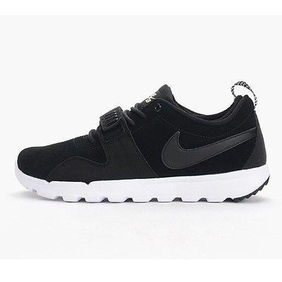 new product e9913 4b79b Nike SB Trainerendor Leather Mens 806309-002 Black Skateboarding Shoes Size  8.5
