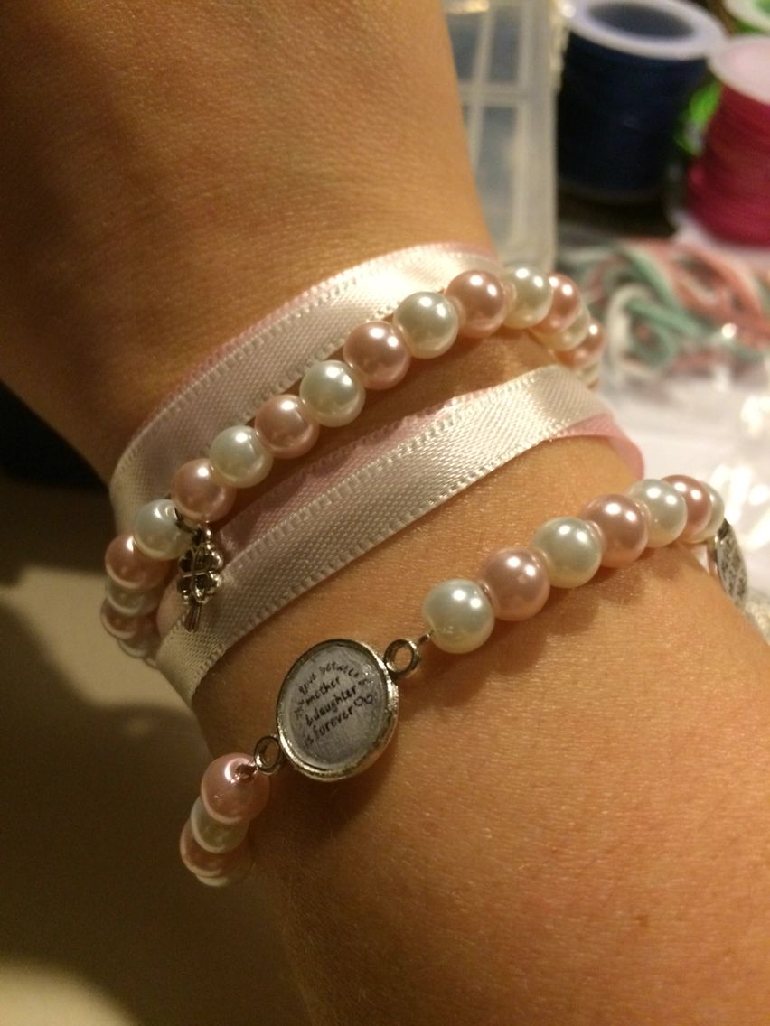 Dubbele armband met lint #diy #armcandy #forsale