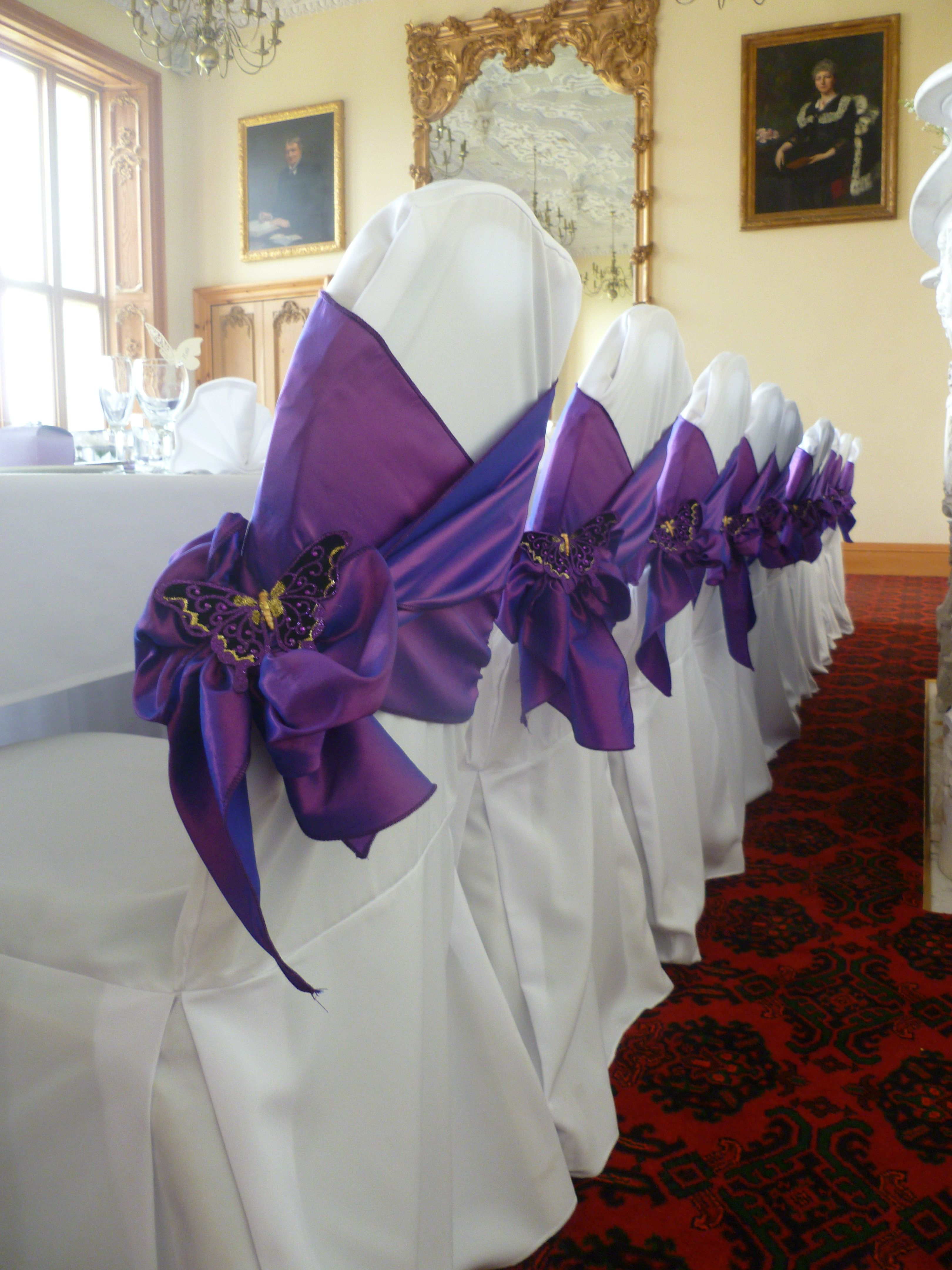 purple chair sashes for weddings small lounge chairs bedroom wedding top table view stoke rochford hall by ambience