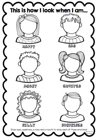 Feelings printables for kindergarten