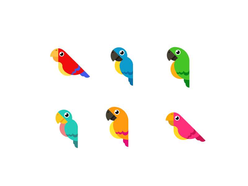 Tattoo King Multi-Colored Stickers-Parrots