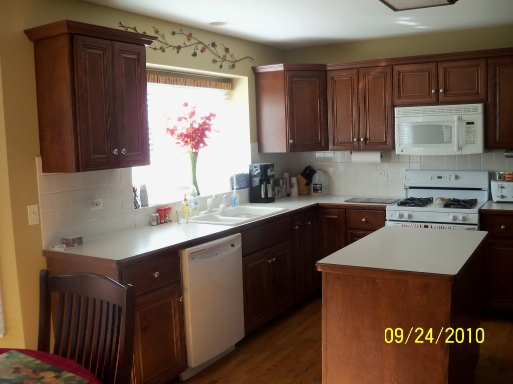 White Appliances And Can T Decide On White Or Dark Cabinets Kitchens Forum Gardenweb Command Center Kitchen Mahogany Cabinets Dark Kitchen Cabinets