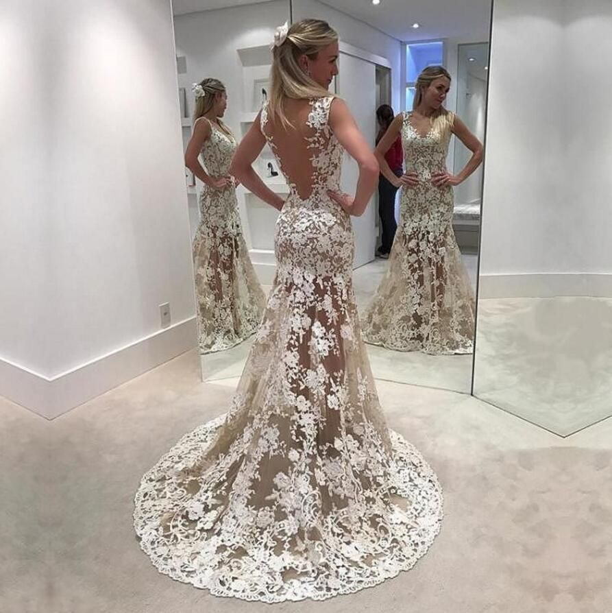Sexy see through lace mermaid long evening prom dresses popular