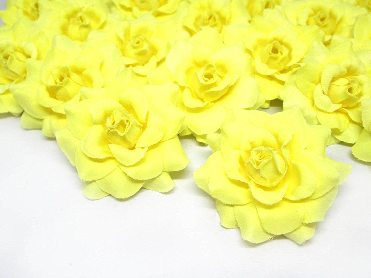 24 Silk Light Yellow Roses Flower Head 175 Artificial Flowers