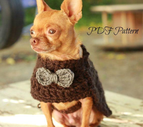 patrón ganchillo perro suéter grueso con moño perro pequeño | Etsy ...