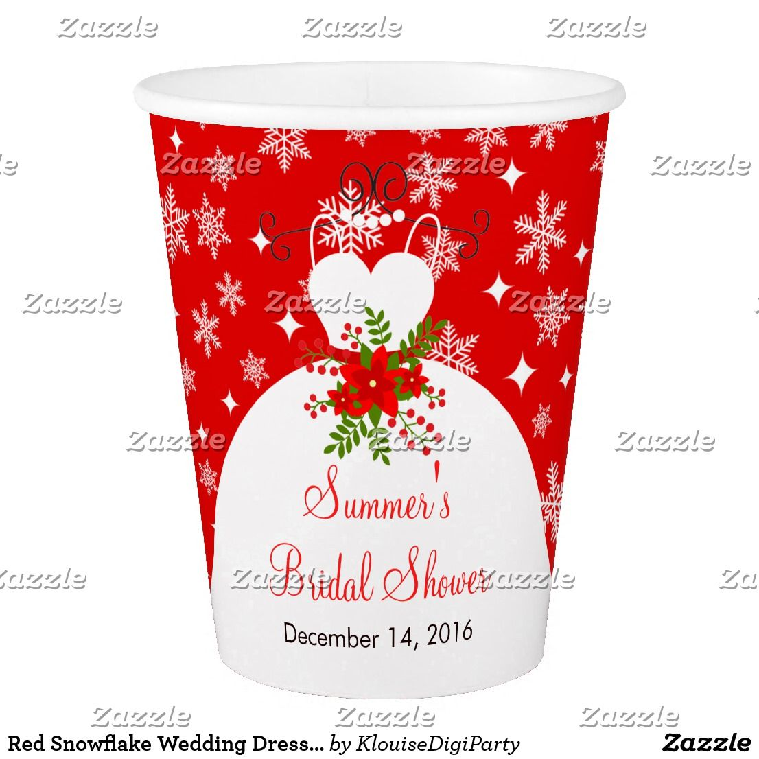 Wedding dress cups  Red Snowflake Wedding Dress Bridal Shower Paper Cup  Red Snowflake