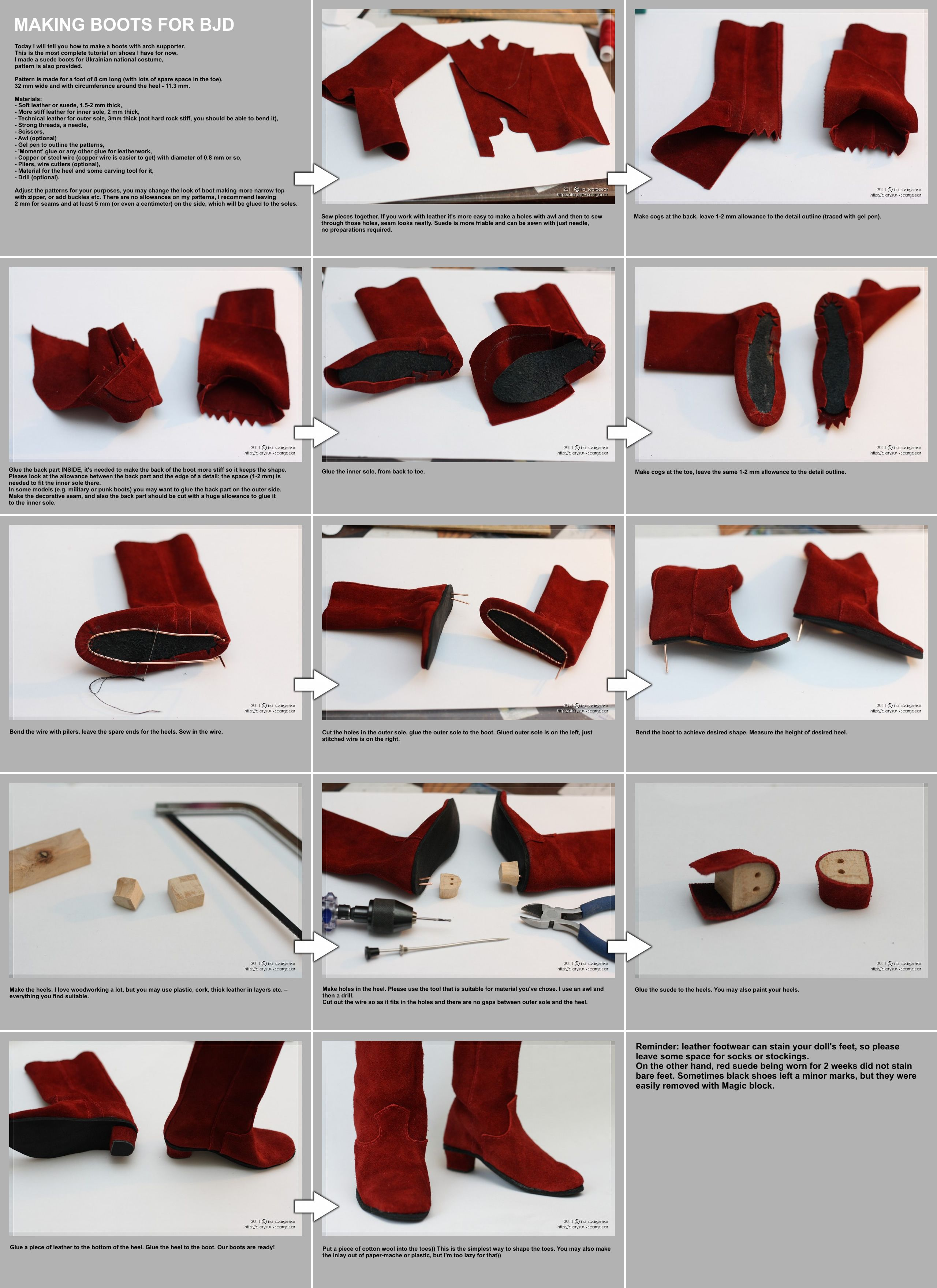 Very excellent tutorial about making boots for a doll .