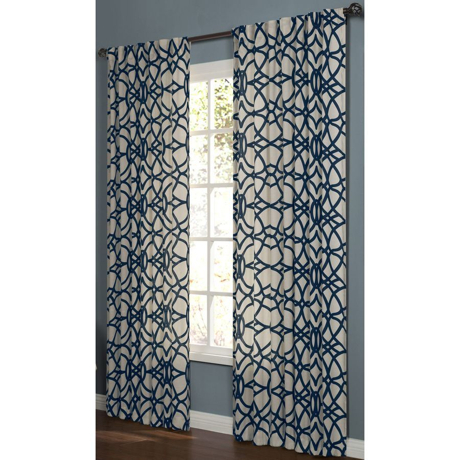 Shop allen + roth 95-in L Navy Oberlin Curtain Panel at Lowes.com ...