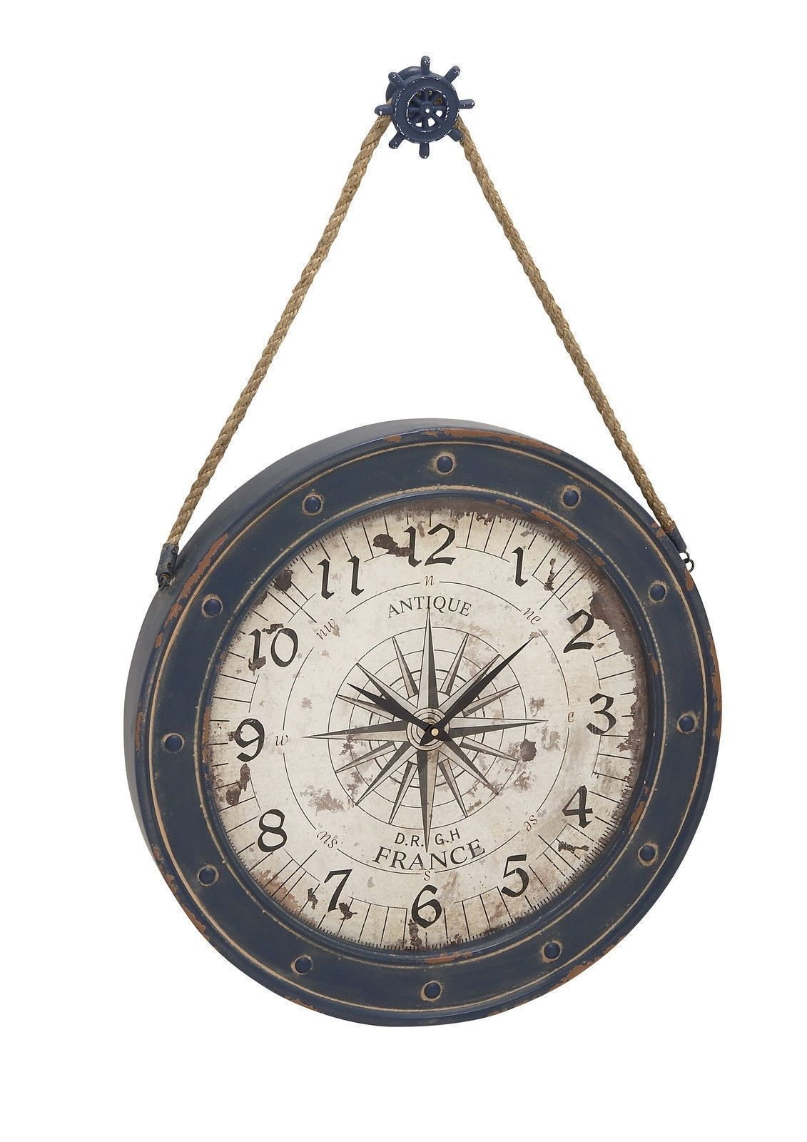 Nautical Ship Wheel Compass Vintage Look Antiqued Blue Wood Rope Wall Clock