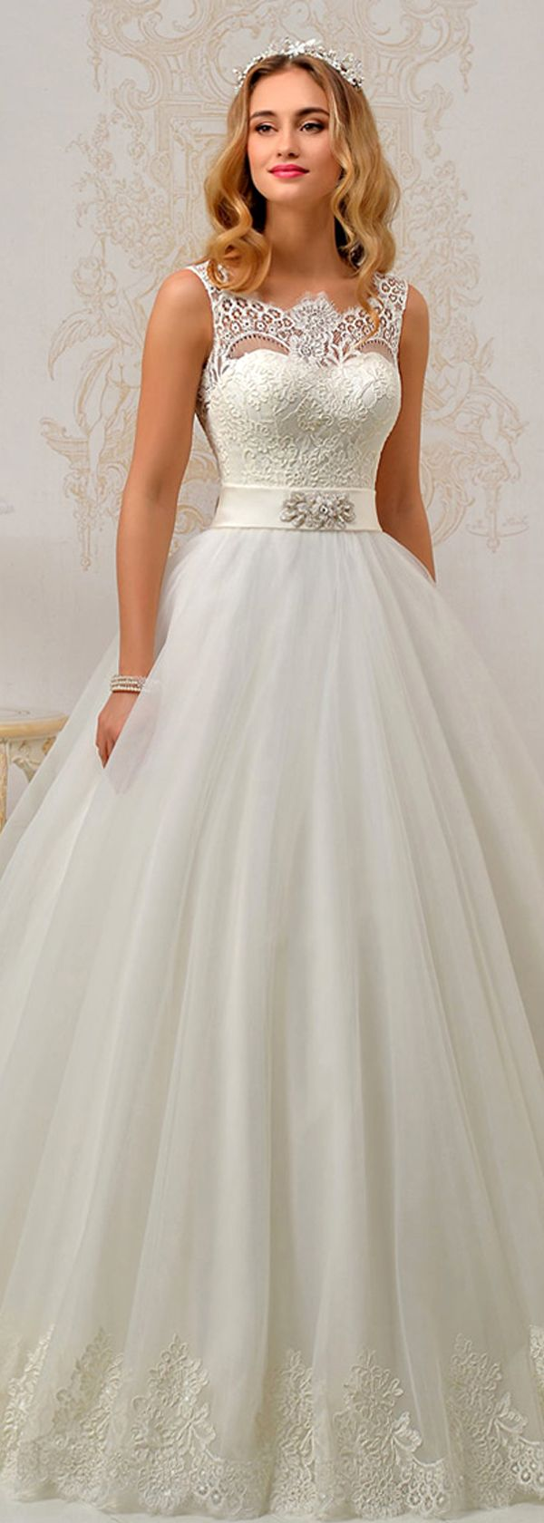 Fantastic Tulle & Satin Bateau Neckline A-Line Wedding Dresses With ...