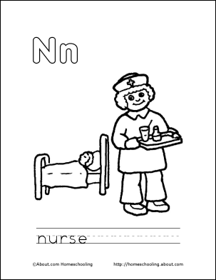 Letter N Coloring Book Free Printable Pages Book Letters