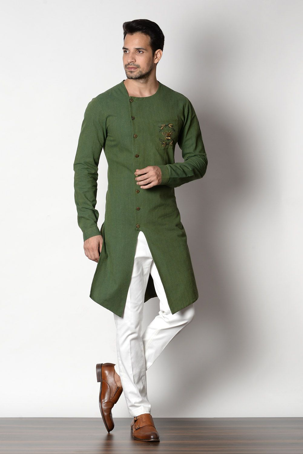 Mygreen Color Handloom Cotton Assymetrical Kurta Chinos Chic