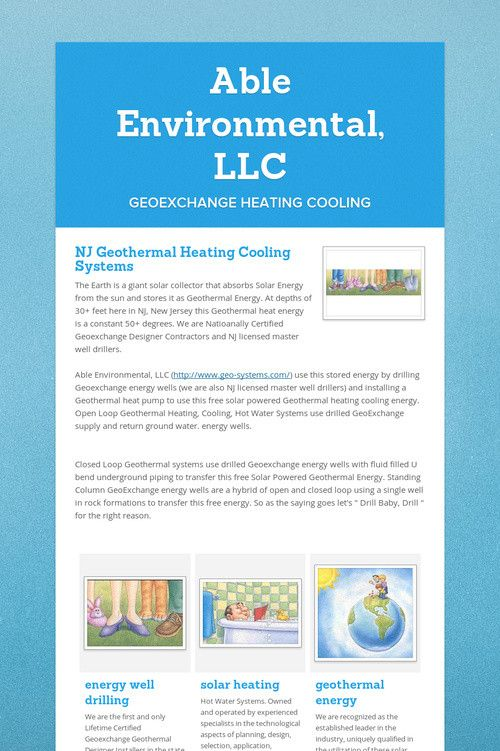 Able Environmental Llc Geothermal Energy Geothermal Heating Geothermal Heating Cooling