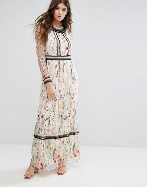 Miss Selfridge Premium Embroidered Lace Detail Maxi Dress | Kleider