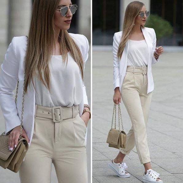 Pin De Eliane S Sano En Moda Ropa Sport Elegante Mujer Pantalon De Tela Mujer Ropa Semi Formal Mujer