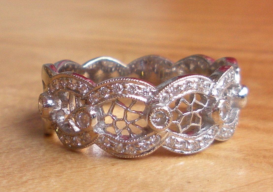 Interesting filigree diamond wedding band joyas pinterest