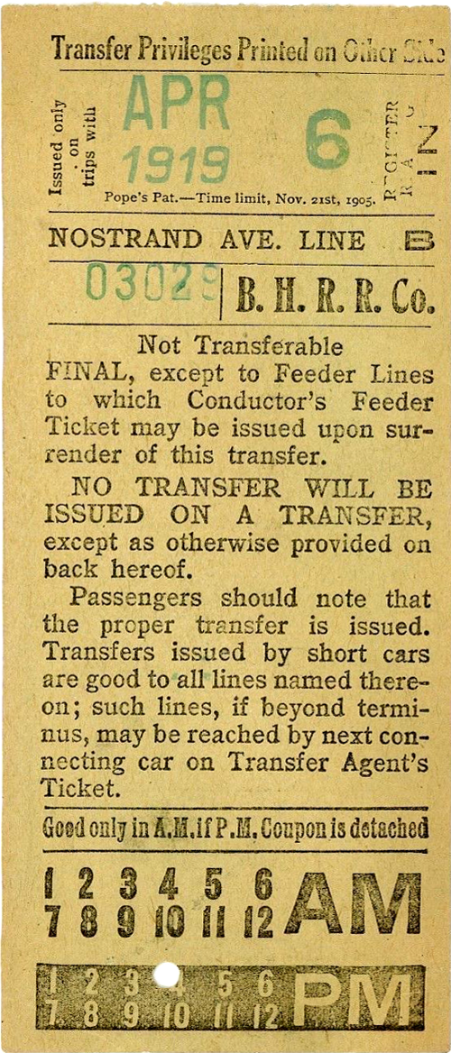 Front of streetcar transfer from Brooklyn Heights RR. Company (1919)