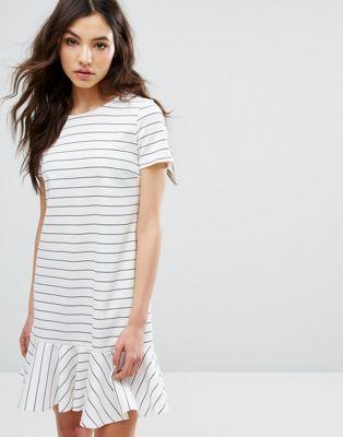 809f09f8f4b9 Vila Ruffle Hem Striped T-Shirt Dress | Fashion | Striped t shirt ...
