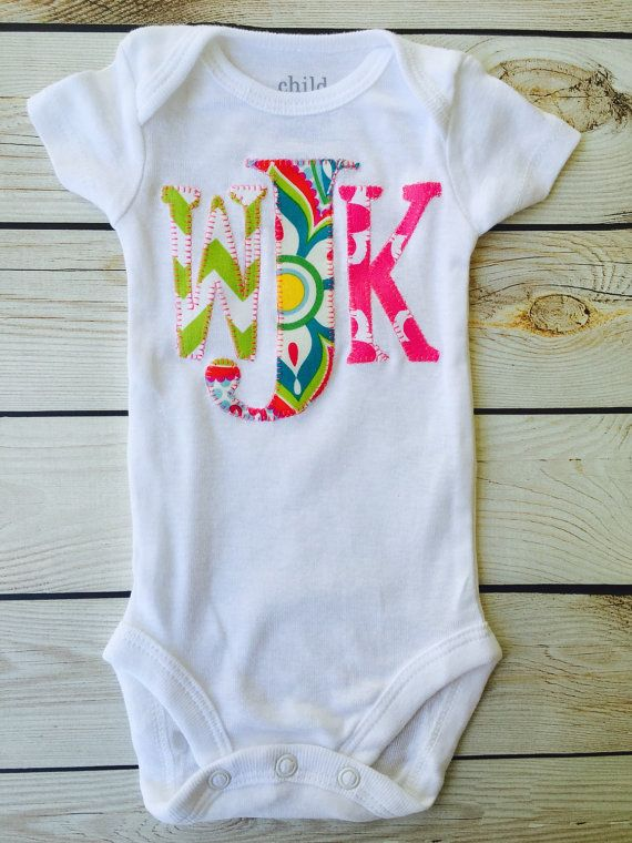 ce0e98aa0 Monogram onesie girls name custom onesie shower gift by sweet ...
