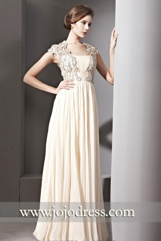 Modest Champagne Beige Pageant Evening Gown CX881082