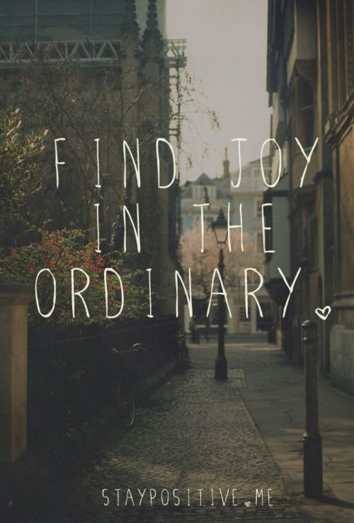 Find joy in the ordinary!