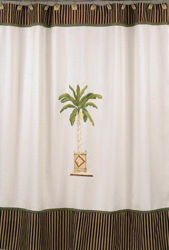 Coastal Colors Style Banana Palm Tree Shower Curtains Lush Bath