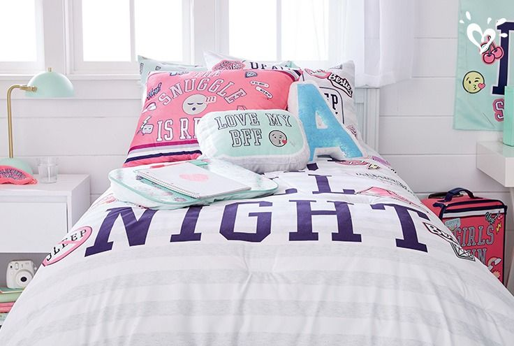Layer Shimmery Varsity Inspo Pillows Over Cool Graphic Bedding For A Style She Ll Cheer For Cool Room Designs Girls Room Decor Room Decor