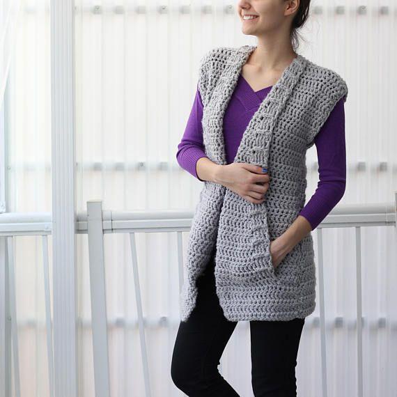 Crochet pattern, Patron crochet, Aria crochet vest PDF, women ...