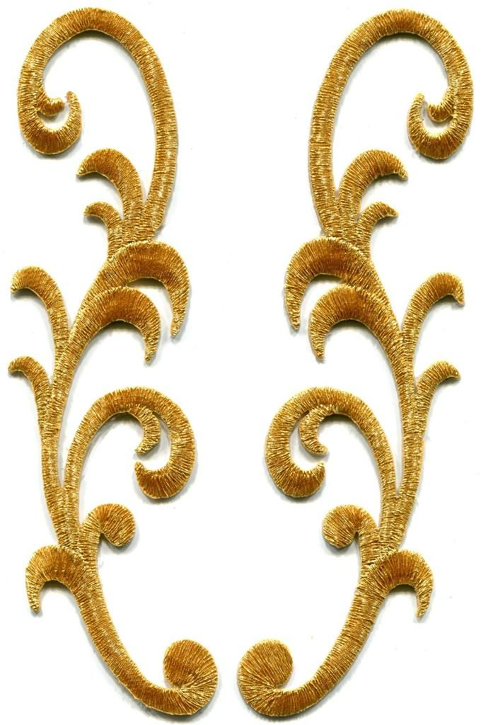Gold trim fringe boho art deco sew embroidered appliques iron-on patches