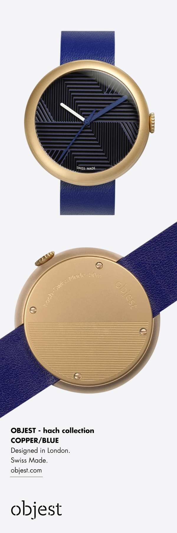 Objest copper blue watch - The timepiece features a numberless dial design with a 3D hatched pattern that indicates the twelve points of a traditional watch face. Our premium Swiss watches have a 40 mm Charcoal DLC case and black Italian leather strap. Swiss Made, 50m water resistance, 2 year warranty £239. We celebrate creativity. http://objest.com