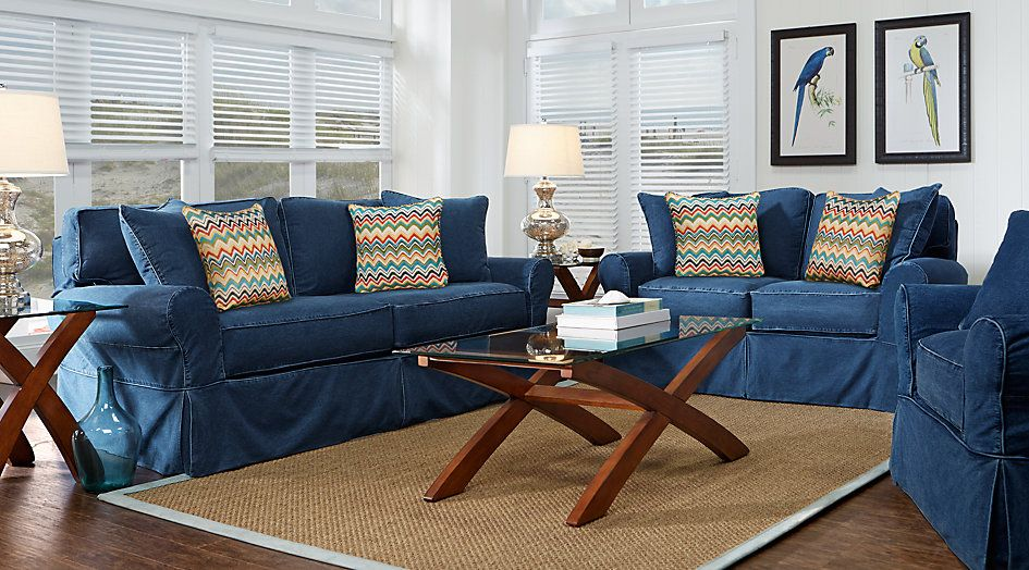 Picture Of Cindy Crawford Home Beachside Blue 7 Pc Living Room From  Furniture