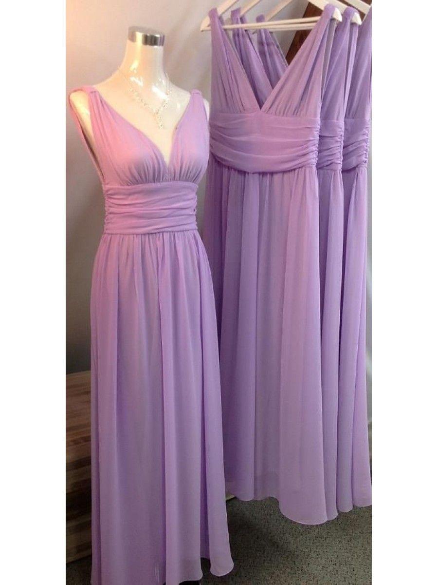 Straps sleeveless long chiffon wedding guest dresses bridesmaid