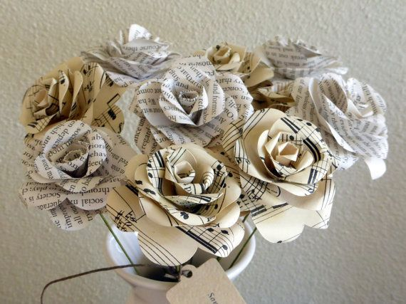Paper roses book page sheet music bouquet by sandpaperetc paper roses book page sheet music bouquet by sandpaperetc beautiful paper flowers made from original mightylinksfo