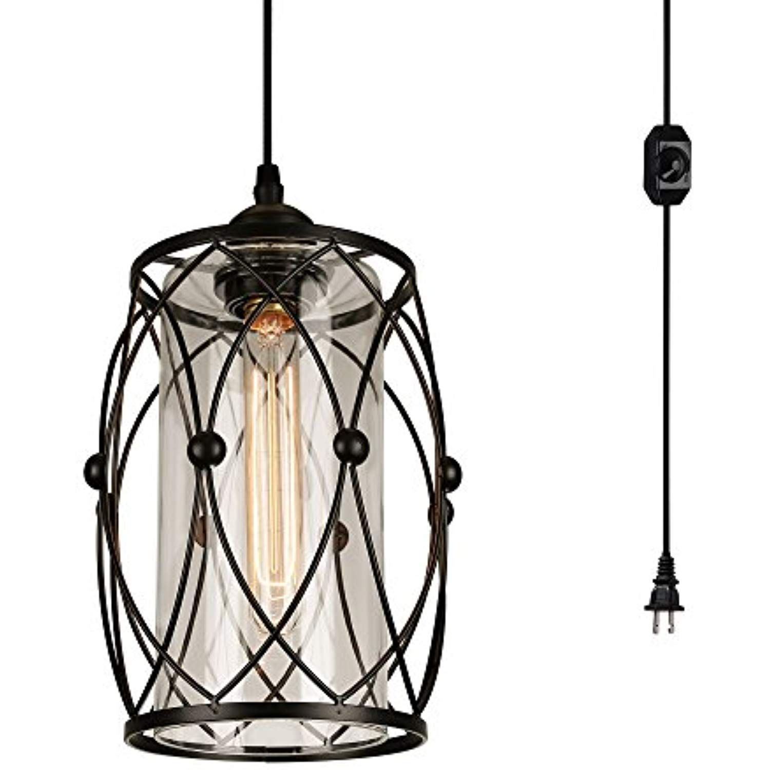 HMVPL Plug-in Pendant Lights with Glass Lamp-Shade 16.4 ft Hanging Cord and On//