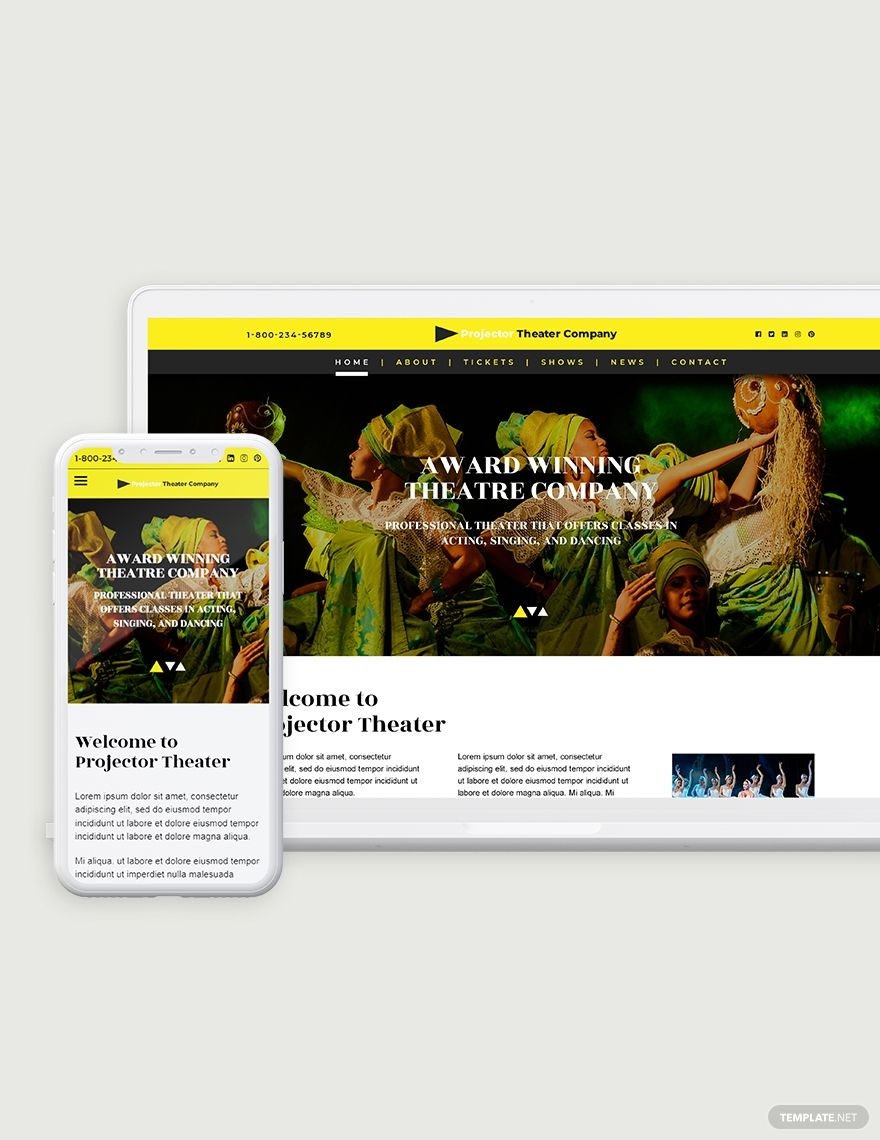 Theater Bootstrap Landing Page Template in 2020 Landing