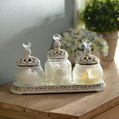 Bathroom Jar Set vintage ivory jar set with tray | trays, ivory and bedroom vintage