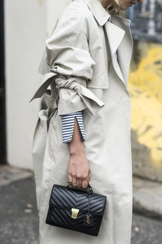 a trench, stripes, and YSL bag...classic!